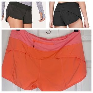 LULULEMON 6 Speed Up Track Running Shorts - Orange